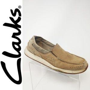 Clarks Mens Tan 11 W Nubuck Suede Leather Slip On